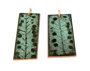 Final product of my copper enamelling class. My stencil made from a weed found outside.