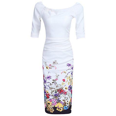 Buy Jolie Moi Floral Half Sleeve Ruched Wiggle Dress, Cream Online at johnlewis.com