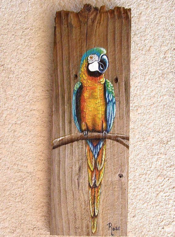 Perroquet Plaque main peinte sur planche de par roseartworks