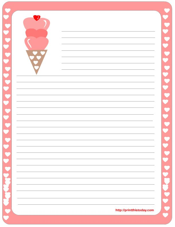Free Border For Writing Paper | Free Printable Valentine Stationery | Print This Today