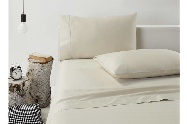 Dwell 370 Thread Count Cotton Flat & Fitted Bed Sheets Set CREAM SINGLE NEW