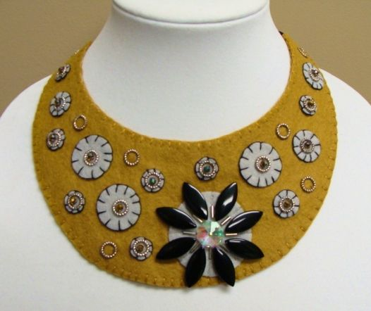 Wool felt Bib necklace, handmade, beaded available at woolhearts shop on etsy