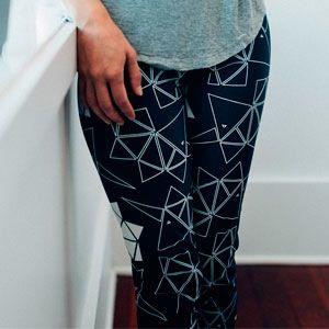 print Leggings black with white unicorn origami for yoga or look good