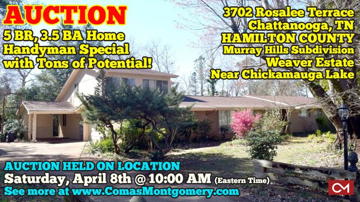 """Spacious 5 Bedroom, 3 ½ Bath Home """"Weaver Estate"""" at 3702 Rosalee Terrace, Chattanooga, Tennessee – Hamilton County.  AUCTION HELD ON LOCATION Saturday, April 8th @ 10:00 AM (Eastern Time); PREVIEW: Sunday, April 2nd from 1-2 PM (Eastern Time).  #realestate #chattanooga #tennessee #home #forsale #house #investment #chickamauga #lake  CLICK HERE TO SEE MORE: http://comasmontgomery.com/index.php?ap=1&pid=53095"""