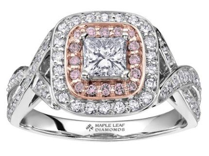 14 karat Canadian Certified Gold princess cut Maple Leaf Diamonds Canadian diamond ladies engagement ring set with 0.50 carat princess cut Canadian diamond and 0.50 carat total weight natural fancy light pink diamonds
