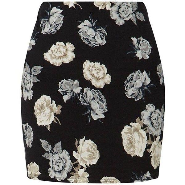 Black Rose Print Mini Skirt (860 RSD) ❤ liked on Polyvore featuring skirts, mini skirts, bottoms, saia, short bodycon skirt, short skirts, floral mini skirt, mini skirt and body con mini skirt