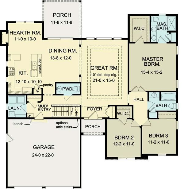 Ranch house plan 54075 powder house and layout for Expanded ranch floor plan