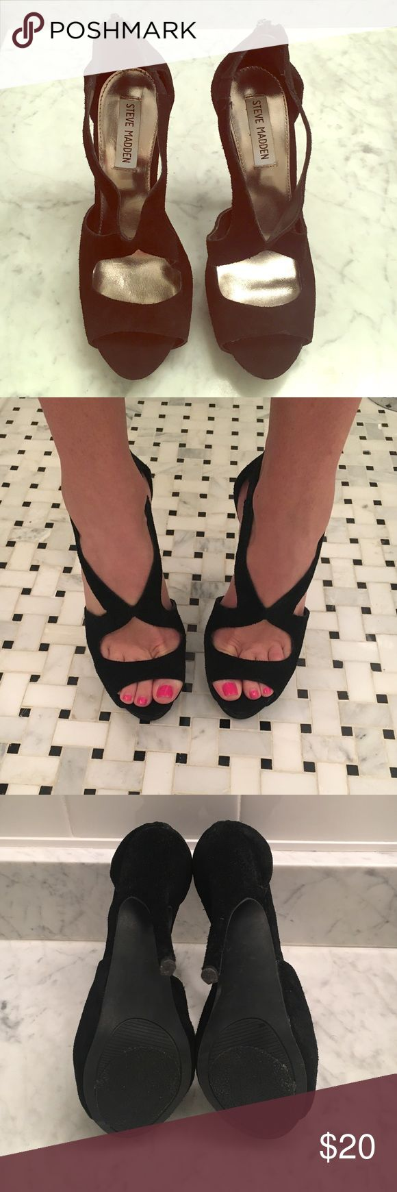 """Steve Madden Platform Sandals Black suede platform sandals by Steve Madden. Size 7. Worn once mostly indoors. Nonslip sole applied. Heel height is approximately 4.5"""" with 1"""" platform. Zipper closure at back. Steve Madden Shoes Platforms"""