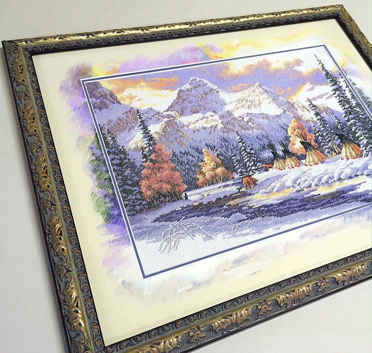 "Вышивка ""Ранний снег"" Dimensions с дорисовкой"