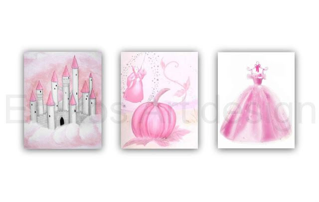 Kids Nursery Prints: Princess Cinderella themed Nursery Art on pink