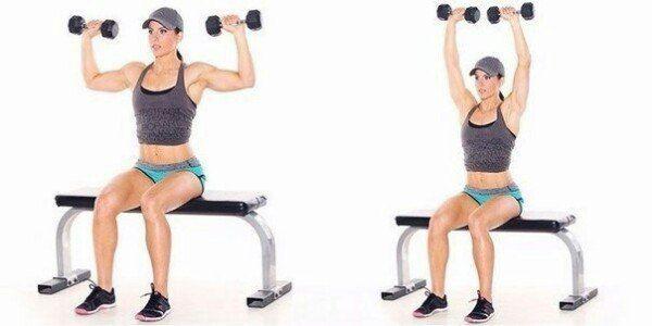 ТРЕНИРУЕМ РУКИ И ГРУДНЫЕ МЫШЦЫ      В данном комплексе представлены пять упражнений, способные качественно проработать мышцы спины, плечи, руки и грудь...    1. Тяга гантели в наклоне  Основной акцент: широчайшие.  Выполни: 3-4 подхода по 12-14 повторений.    2. Французский жим сидя  Основной акцент: трицепс.  Выполни: 3-4 подхода по 12-14 повторений.    3. Жим гантелей лежа на горизонтальной скамье  Основной акцент: грудь.  Выполни: 3-4 подхода по 12-14 повторений.    4. Концентрированный…