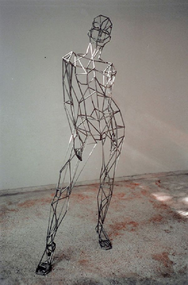 Steel Sculpture or Statues made from Metal Rods or Bars sculpture by artist Toby Short titled: 'virtual woman (Caryatid Big Steel Armature female/Girl sculpture/statue)'