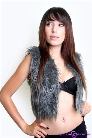 Gray Fur Vest Rave Clothing We Control The Sunlight