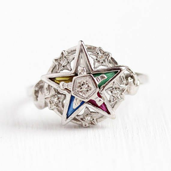 Vintage Star Ring 10k White Gold Order Of The Eastern Star Antique Rings Vintage Masonic Jewelry Star Ring
