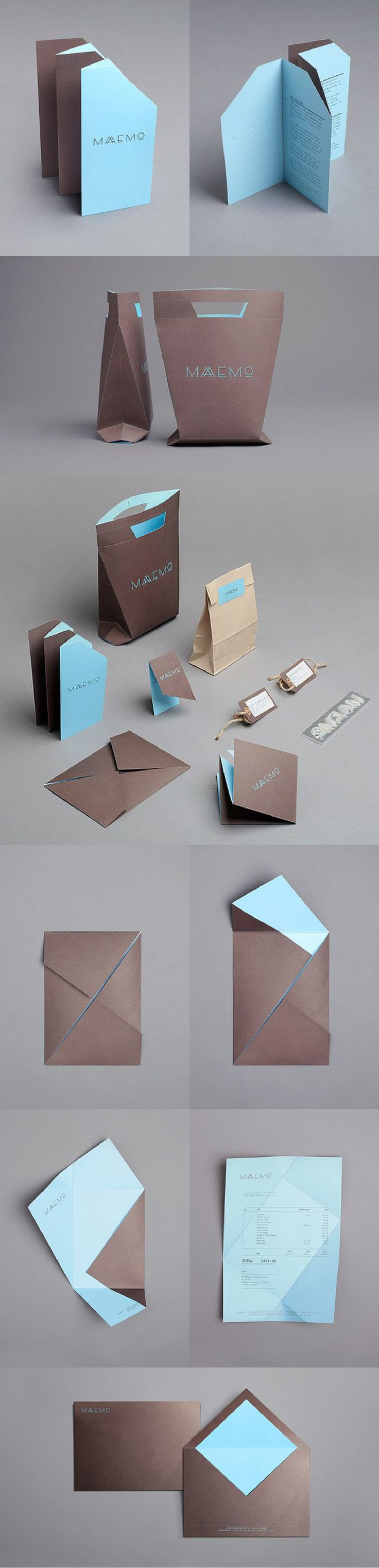 Maaemo Brand Identity_ designed by Work in Progress for the Norwegian restaurant, Maaemo  http://businesscarddesignideas.com/maaemos-cool-business-card-folding-geometric-brand-identity/