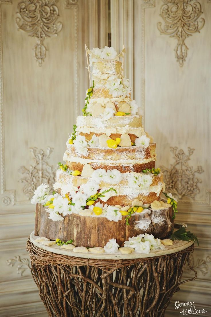 Naked Cake With Yellow Flowers Decorations At Deer Park Hall In Worcestershire