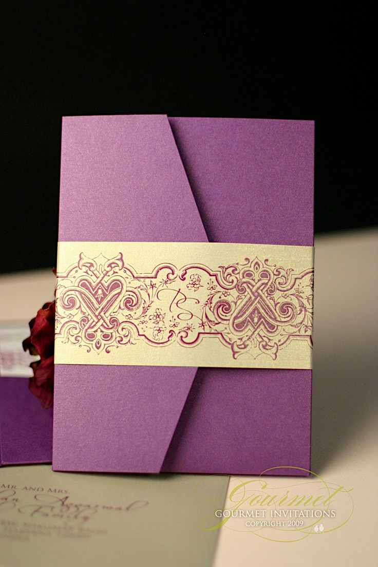 moroccan scroll wedding invitations%0A Pooja   Sean  Indian Inspired Purple and Gold Fusion Invitations