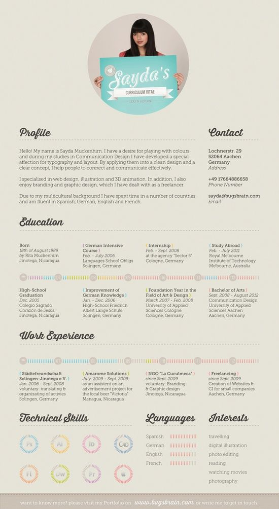 190 Best Resume Design & Layouts Images On Pinterest Resume Cv