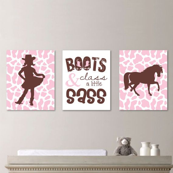 Sassy Cowgirl Trio - Decor. Nursery. Girl. Cow. Horse. Boots.  - Shown in Light Pink and Brown - You Pick the Size & Colors (NS-156) on Etsy, $25.00