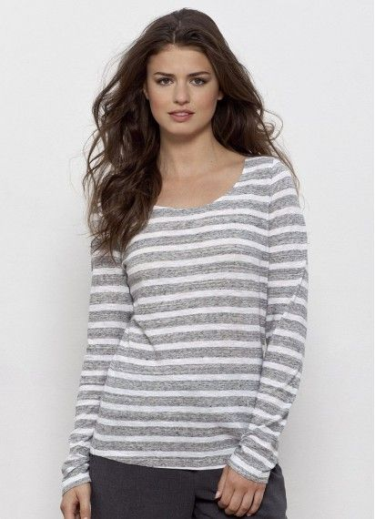 Astrid ladies' long sleeve striped tee is a lovely loose knit organic cotton t-shirt. Comfy and cosy, fair trade and made in Bangladesh. 120GSM #longsleevetshirt #stripedtshirt #ethicalclothing #fairtrade #organiccotton