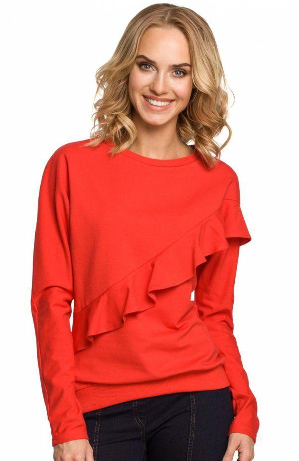 Moe M331 bluza czerwona Stylowa dzianinowa bluza damska, przód bluzy ozdobiony piękną falbaną, długie rękawy ze ściągaczem