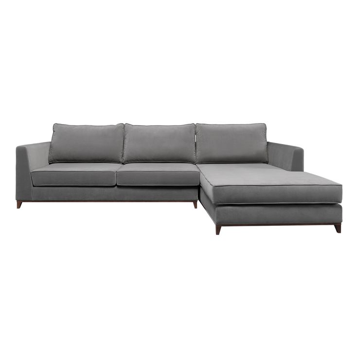 London Chaise Longue | Laskasas | Decorate Life | Living Room Ideas | www.laskasas.com |   A bigger version of the London Sofa, this is a modern and elegant three places sofa with chaise longue, upholstered in gray with matte walnut feets.