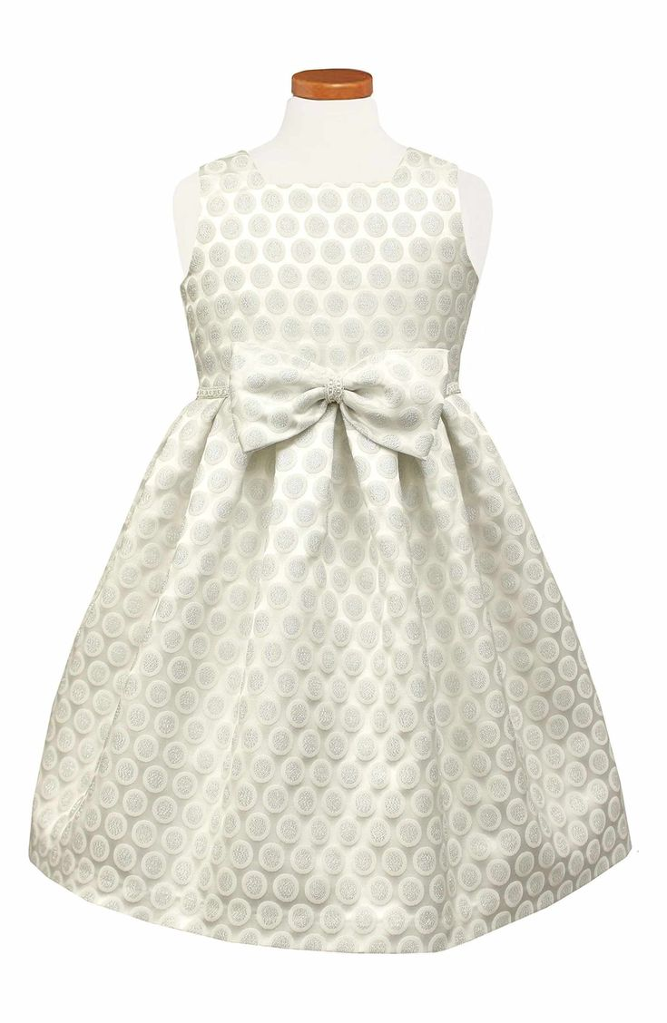 Main Image - Sorbet Dot Metallic Brocade Dress (Little Girls)