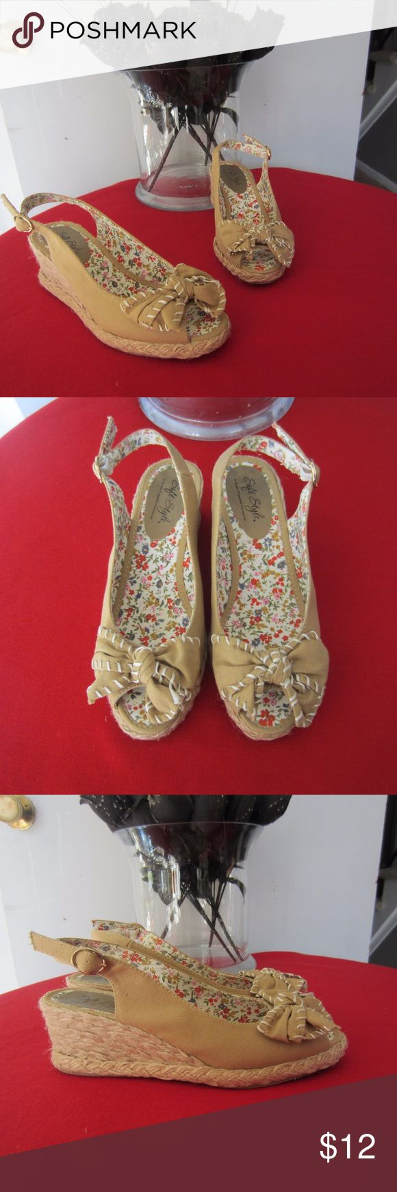 Hush Puppy Sandals SIze 7M Hush Puppies soft style tan wedge heel sandals. Preowned in great condition. Size 7M Hush Puppies Shoes Sandals