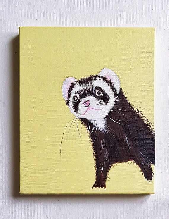 Nursery Art Ferret Original Acrylic Painting On Stretched Canvas