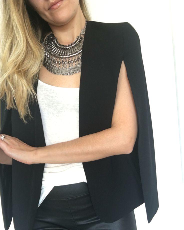 Monochrome Style | Zara Cape Blazer | Colette Hayman necklace | Sensory Cues