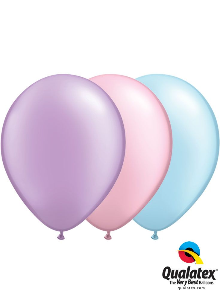 Qualatex Color Trends – Cute Bud: trendy pastel colors would be so sweet for a birthday or a baby shower decor. Pearl Lavender, Pearl Pink, and Pearl Light Blue Qualatex balloons. #qualatex #balloon #baby #coloroftheyear #pastel