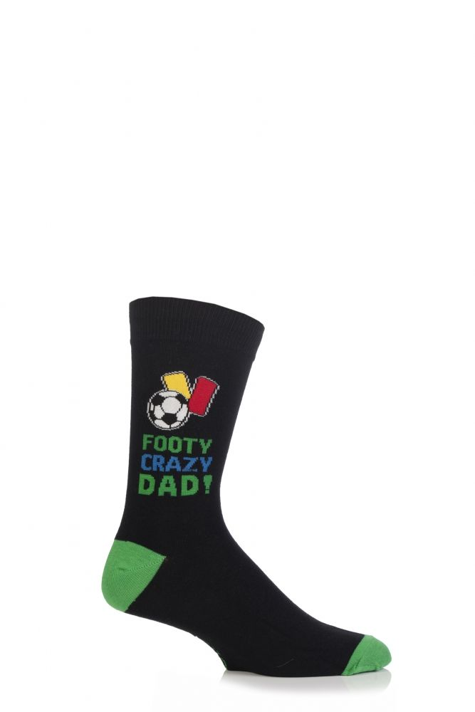 Mens 1 Pair SockShop Fathers Gift Novelty Socks In Gift Box - FOOTY CRAZY DAD!