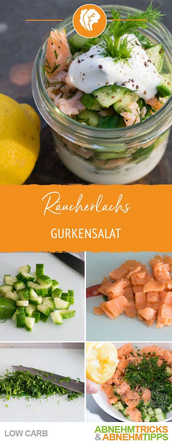 Sommerlicher Räucherlachs Gurkensalat – Knackig & Low Carb