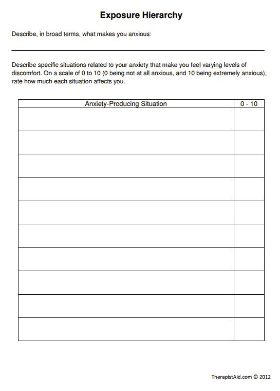 Printables Ocd Worksheets 1000 ideas about ocd therapy on pinterest free games exposure hierarchy worksheet