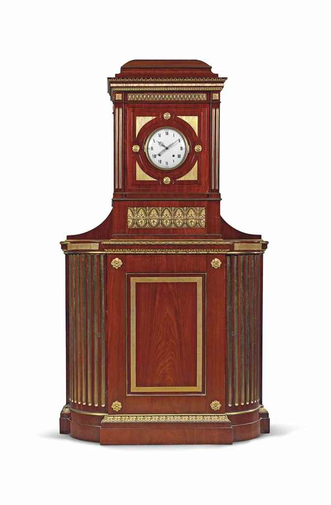 A GERMAN ORMOLU-MOUNTED MAHOGANY STRIKING CABINET CLOCK  LATE 18TH CENTURY, CIRCLE OF DAVID ROENTGEN, POSSIBLY BY JOHANNES KROLL, MAINZ