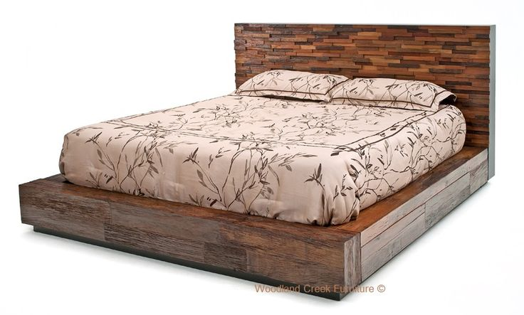 Reclaimed Stacked Wood Platform Bed