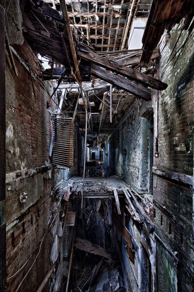 Derelict building with floors falling away