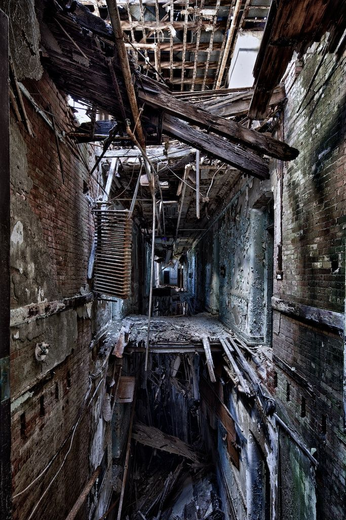 Derelict building with floors falling away
