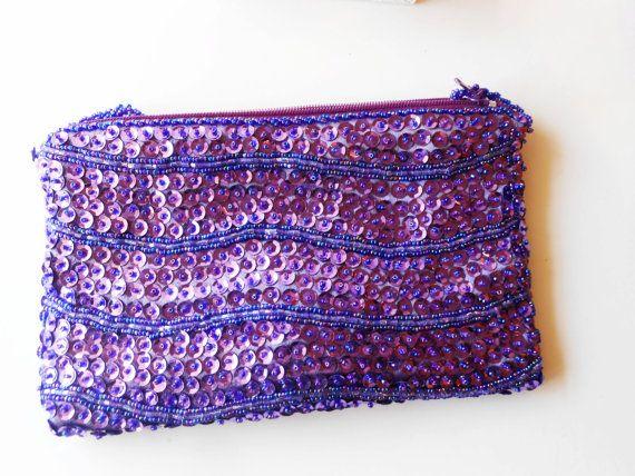 Purple Evening Bag, Vintage Walborg, Bead Evening Bag, Purple Bead Bag, Purple Clutch, Sequin Handbag,Sparkly Purse Eb-0383