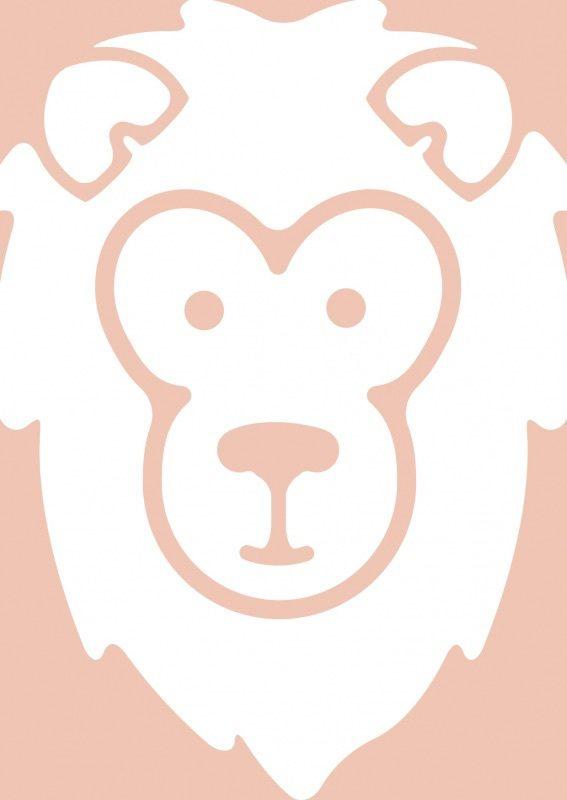 Dierenkaart leeuw Ansichtkaart in pastel oranje met een stoere leeuw. Leuk voor aan de muur op de kinderkamer! Maar versturen mag natuurlijk ook! A6 formaat. Decoratie wanddecoratie kinderkamer babykamer pastel kleuren tinten ansichtkaart postkaart kaartje dieren