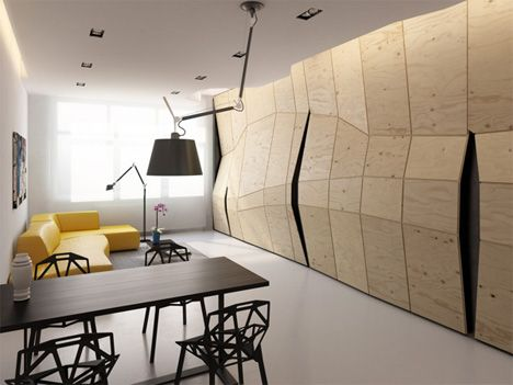 Apartment Wall Twists + Turns to Reveal Hidden Rooms