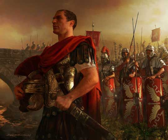 Caesar crossing the Rubicon. Artwork by Michael Komarck. In 49 BC, perhaps on January 10, C. Julius Caesar led a single legion, Legio XIII Gemina, south over the Rubicon from Cisalpine Gaul to Italy to make his way to Rome. In doing so, he (deliberately) broke the law on imperium and made armed conflict inevitable. Suetonius depicts Caesar as undecided as he approached the river, and attributes the crossing to a supernatural apparition.