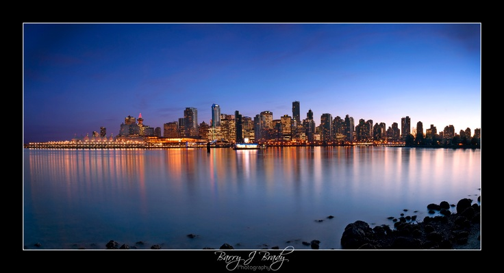 Vancouver by night from Stanley park, great skyline and colours!