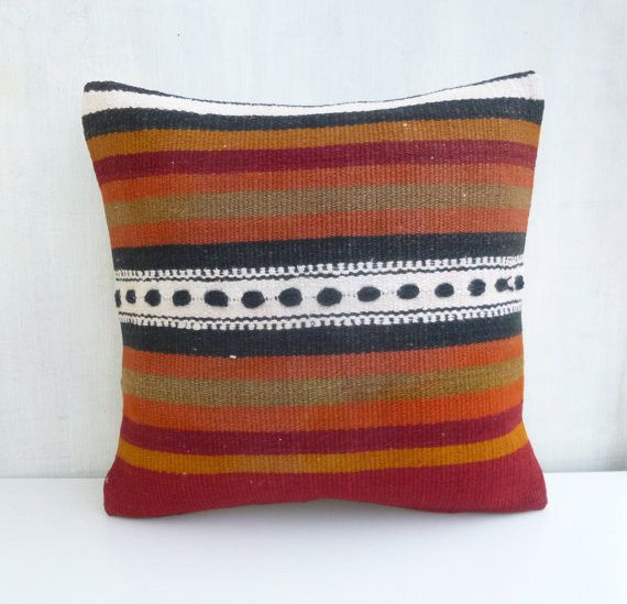 Decorative Kilim Throw Pillow with Stripes