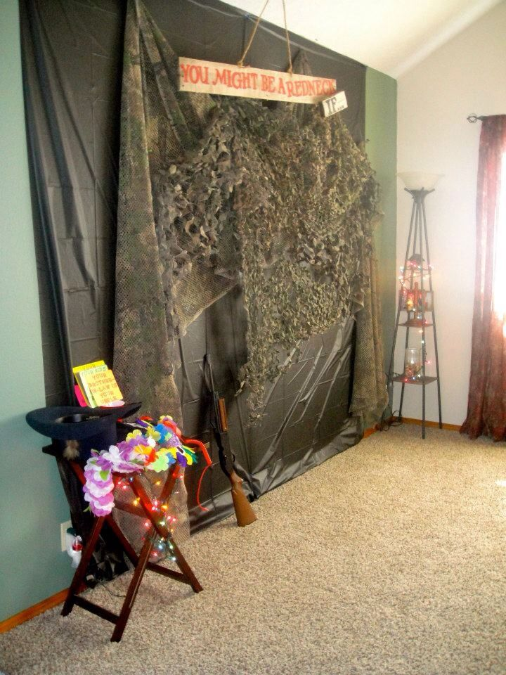 Redneck party photobooth background!  Definitely doing a photo booth for Connors party!  So much fun!