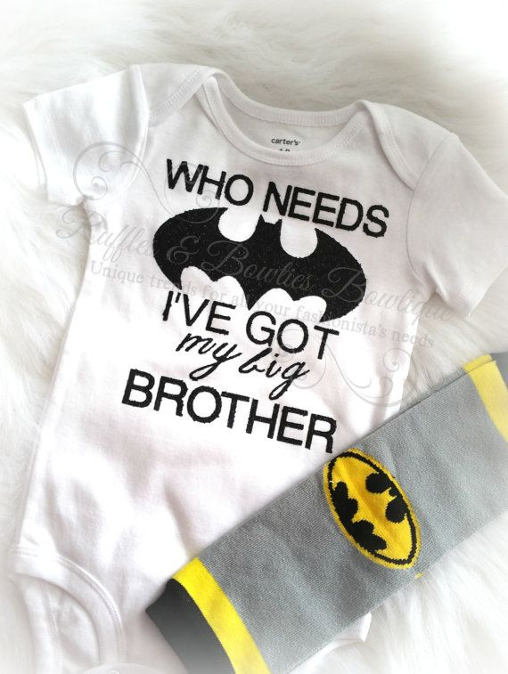 Batman OnesieBaby Boy Big BrotherLittle by RufflesBowtique on Etsy