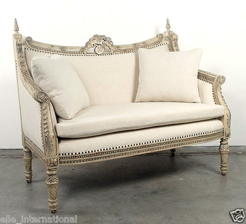 French Louis XV Distress Loveseat Sofa Solid Mahogany White Parchment New  FrShp | eBay