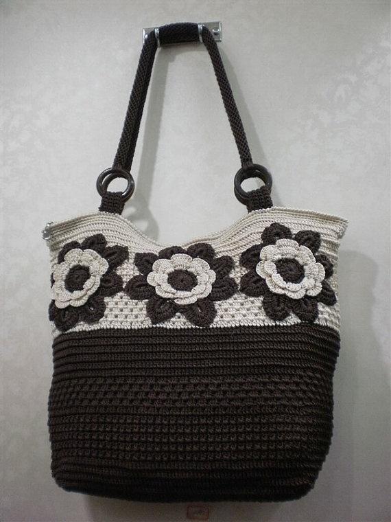 Handmade Crochet women coffee bag fashion handbag by Buzaitingle, $79.00