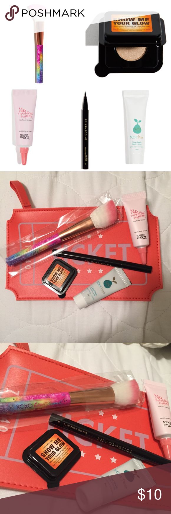 "Makeup bundle w Glamour Dolls x Lisa Frank brush! Ipsy bag! All items are brand new, never swatched or used. Glamour Dolls x Lisa Frank angle brush, EM cosmetics eyeliner with brush tip, touch in SOL ""No Poreblem"" primer, MintPear vitamin C serum, Elizabeth Mott Show Me Your Glow shimmer shadow and highlighter, and cute ipsy ticket bag. **NO TRADES** Sephora Makeup"