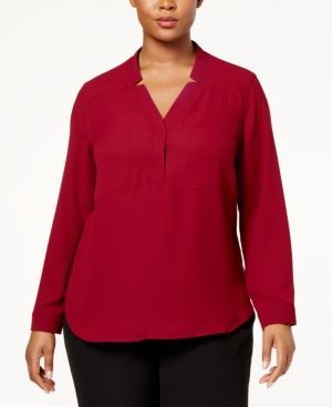 Nine West Plus Size Crepe Top - Red 3X